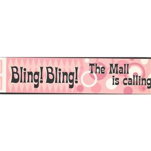 York Wallcoverings The Mall Is Calling Wallpaper Border - 15-ft x 6-in - Pink