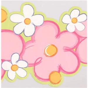 York Wallcoverings Flowers Wallpaper Border - 15-ft x 9-in - Pink