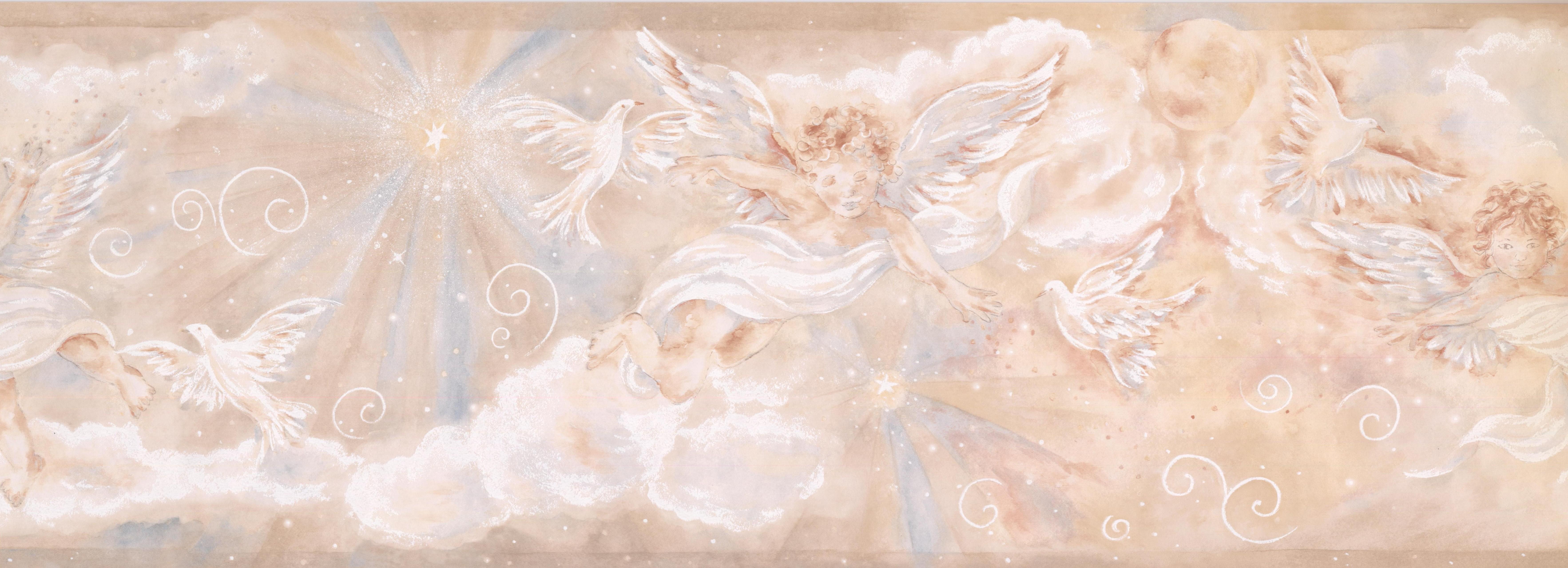 Chesapeake Cupid Dove Clouds Wallpaper Border 15 X 8 5 Beige Lowe S Canada