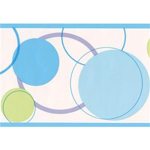 York Wallcoverings Circles Abstract Wallpaper Border - 15-ft x 7-in - Blue