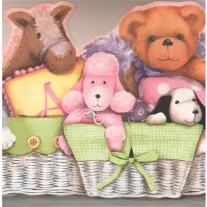 York Wallcoverings Teddy Bear in Baskets Wallpaper Border - 15-ft x 13.25-in