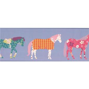 York Wallcoverings Horses with Stars Wallpaper Border - 15-ft x 9-in - Purple