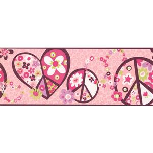 York Wallcoverings Hearts Peace Flowers Wallpaper Border - 15-ft x 9-in - Pink