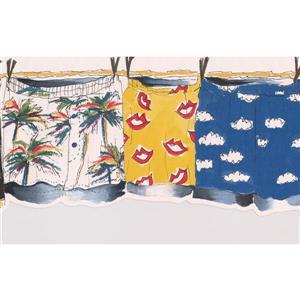 "Retro Art Shorts on Drying Line Wallpaper Border - 15' x 7"""