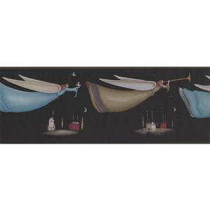 York Wallcoverings Angels in Night Sky Wallpaper Border - 15-ft x 7-in - Black