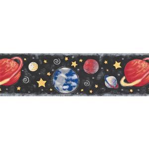 Norwall Planets Stars Wallpaper Border - 15' x 7-in- Black