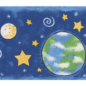 Norwall Outer Space Planets Stars Wallpaper Border - 15' x 7-in- Blue