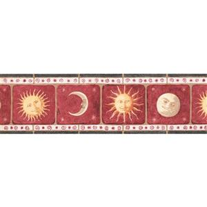 York Wallcoverings Vintage Smiling Sun Moon Wallpaper Border - 15-ft x 7-in - Red