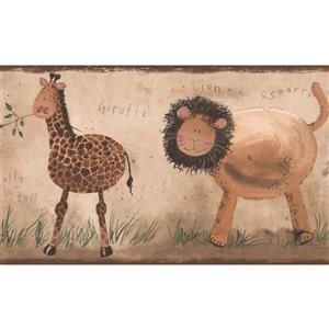 York Wallcoverings Lion Giraffe Elephant Wallpaper Border - 15-ft x 7-in - Beige