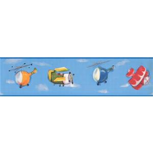 York Wallcoverings Toy Helicopter Plane Wallpaper Border - 15-ft x 6-in - Blue