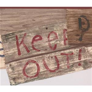 York Wallcoverings Keep Out Private Signs Wallpaper Border - 15-ft x 9-in - Brown