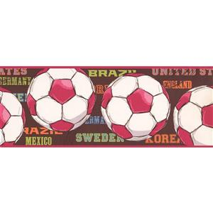 York Wallcoverings Soccer Ball Wallpaper Border - 15-ft x 9-in - Red