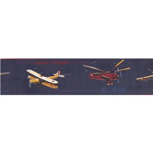 York Wallcoverings Airplane Helicopter Wallpaper Border - 15-ft x 6-in - Blue