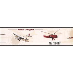 York Wallcoverings Airplane Helicopter Wallpaper Border - 15-ft x 6-in - White