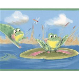 York Wallcoverings Frogs in the Pond Wallpaper Border - 15-ft x 7-in - Blue