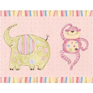 York Wallcoverings Painted Animals Wallpaper Border - 15-ft x 6-in - Pink