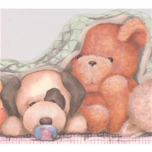 York Wallcoverings Teddy Bear Plush Toys Wallpaper Border - 15-ft x 10-in - Orange