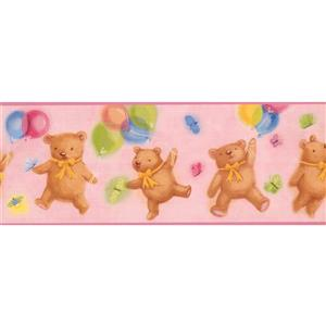 York Wallcoverings Teddy Bears with Balloons Wallpaper Border - 15-ft x 9-in - Pink