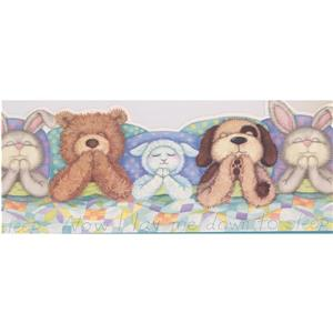York Wallcoverings Plush Toys Wallpaper Border - 15-ft x 10-in - Multicolour