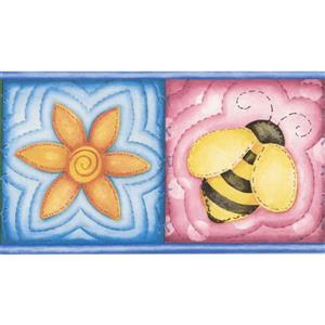 "Chesapeake Flowers Bee Wallpaper Border - 15' x 5"" - Blue"