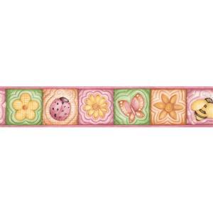 "Chesapeake Flowers Bee Wallpaper Border - 15' x 5"" - Pink"