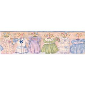 "Chesapeake Baby Dresses on Hangers Wallpaper Border - 15' x 6.5"" - Blue"