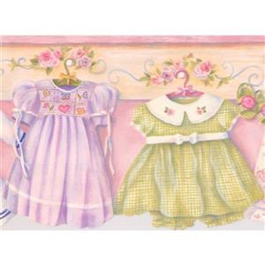 "Chesapeake Baby Dresses on Hangers Wallpaper Border - 15' x 6.5"" - Pink"