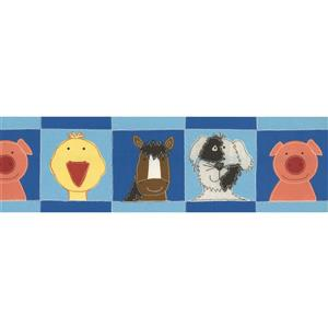 Norwall Pig Duck Horse Dog Wallpaper Border - 15' x 7-in- Blue