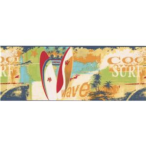 Norwall Cool Surf Wave Wallpaper Border - 15' x 9-in- Multicolour