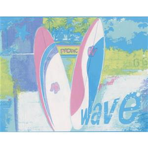 Norwall Cool Surf Wave Wallpaper Border - 15' x 9-in- Blue