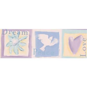 "Chesapeake Dove Heart Flower Wallpaper Border - 15' x 4.67"" - Yellow"