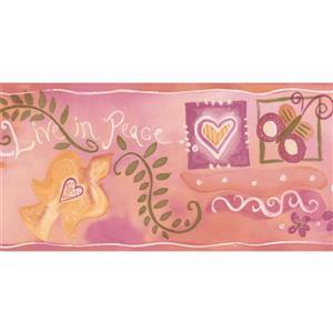 "Chesapeake Hearts Peace Flowers Wallpaper Border - 15' x 5.5"" - Pink"