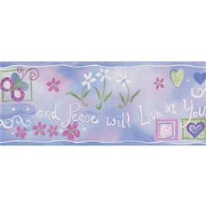 "Chesapeake Hearts Peace Flowers Wallpaper Border - 15' x 5.25"" - Purple"
