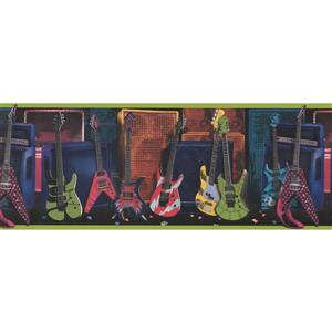 """Retro Art Guitars Wallpaper Border - 15' x 9"""" - Multicolour"""