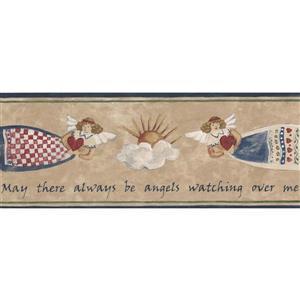 """Retro Art Angels in the Sky Wallpaper Border - 15' x 5.25"""" - Beige"""