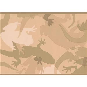 York Wallcoverings Abstract Lizard Frog Wallpaper Border - 15-ft x 7-in - Sepia