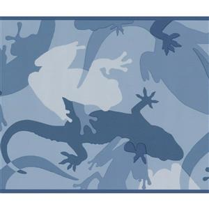 York Wallcoverings Abstract Lizard Frog Wallpaper Border - 15-ft x 7-in - Blue