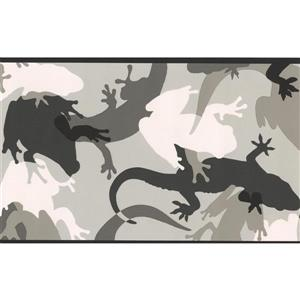York Wallcoverings Abstract Lizard Frog Wallpaper Border - 15-ft x 7-in - Gray