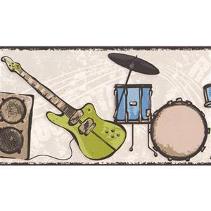 York Wallcoverings Drums Guitar Wallpaper Border - 15-ft x 7-in - Beige