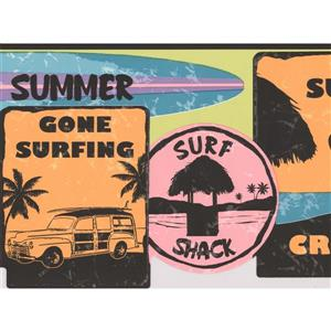 York Wallcoverings Retro Surf Signs Wallpaper Border - 15-ft x 9-in - Multicolour