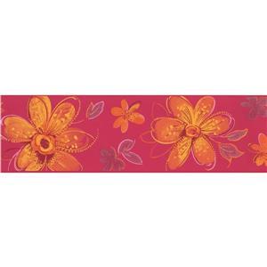York Wallcoverings Glowing Flowers Wallpaper Border - 15-ft x 7-in - Orange