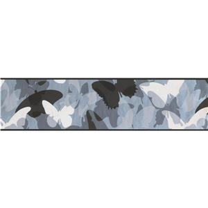 York Wallcoverings Abstract Butterflies Wallpaper Border - 15-ft x 7-in - Black