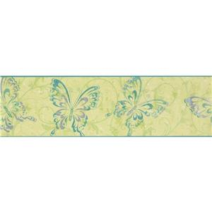 York Wallcoverings Butterflies with Damask Wallpaper Border - 15-ft x 7-in - Green