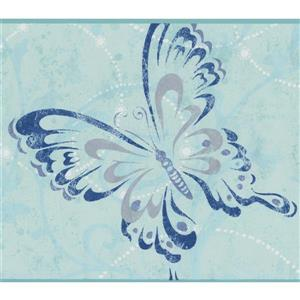 York Wallcoverings Butterflies with Damask Wallpaper Border - 15-ft x 7-in - Blue