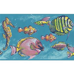 "Retro Art Seahorse Wallpaper Border - 15' x 7"" - Blue"