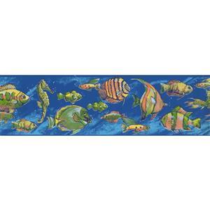 York Wallcoverings Fish Seahorse Wallpaper Border - 15-ft  - Blue
