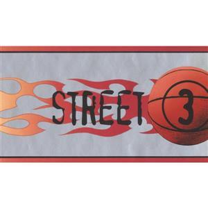 York Wallcoverings Basketball Flames Wallpaper Border - 15-ft x 5-in - Gray