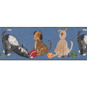 York Wallcoverings Dogs Playing with Balls Wallpaper Border - 15-ft x 9-in - Blue