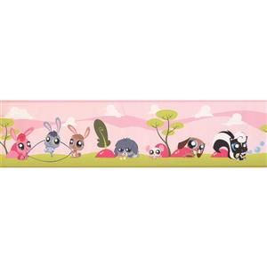 York Wallcoverings Big Eye Cartoon Animals Wallpaper Border - 15-ft x 6-in - Pink
