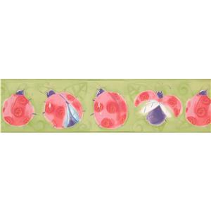 York Wallcoverings Pink Red Ladybug Wallpaper Border - 15-ft x 6.25-in - Green